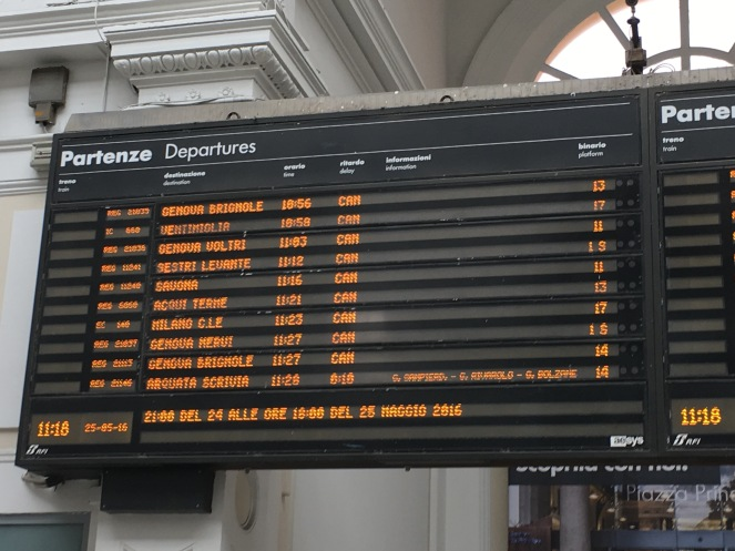 departures board showing most trains cancelled